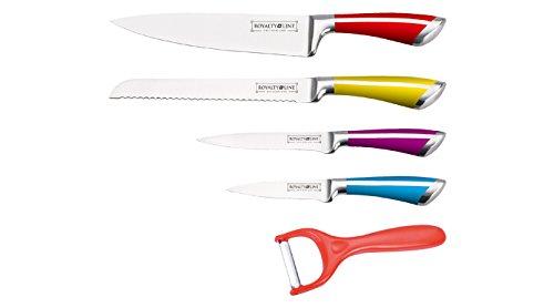Set de 4 couteaux inox multicolores + économe Royalty Line RL-SS501