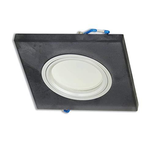 6x LED Einbaustrahler Set eckig schwarz-matt 3 Watt neutralweiß GU10 – 230V Deckenstrahler aus Glas flach – Deckenspot 75mm Bohrloch Einbauleuchte Einbau-spot Strahler