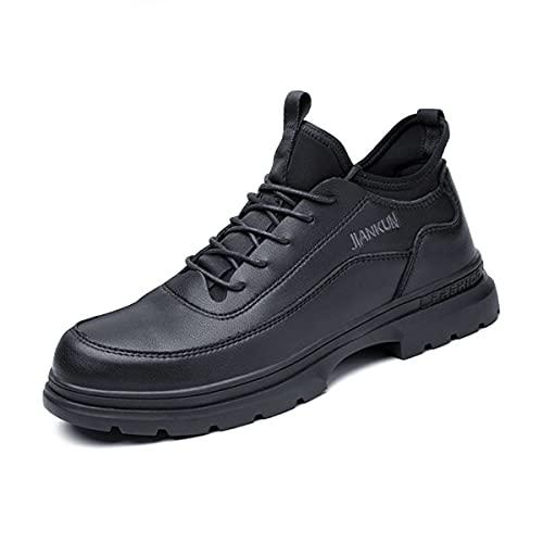 Aingrirn Zapatos de Seguridad Hombre Mujer, Punta de Acero Impermeable Zapatos Ultraligero Zapatillas de Trabajo Anti-Deslizante (Color : Black, Size : 43 EU)