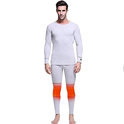 Thermal Underwear Set Knee Pads Waist for Men&Women,Winter Gear Heated Baselayer Clothing Long Sleeve,Pant for Indoor,Outdoor Sports Gray from