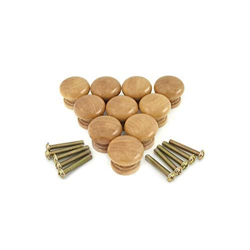Bezall 10pcs Mini Cabinet Knobs, 0.94 Inch Round Wood Drawer Knobs Cupboard Wardrobe Door Pulls Handles Furniture Hardware