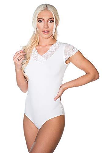 Evoni Damen-Body in Weiss | Kurzarm-Bodysuit mit Spitzenärmeln |Oberteil mit Verschluß-Haken | Nicht nur Unterwäsche | kurzarmes Baumwoll Shirt Damen | Spitzen-Dekolleté , Weiß, L