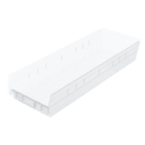 Akro-Mils 30164 Plastic Nesting Shelf Bin Box 24-Inch x 6-12-Inch x 4-Inch Clear 6-Pack