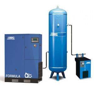 Compresseur d'air rotatif à vis avec réservoir vertical et sécheur d'air ABAC