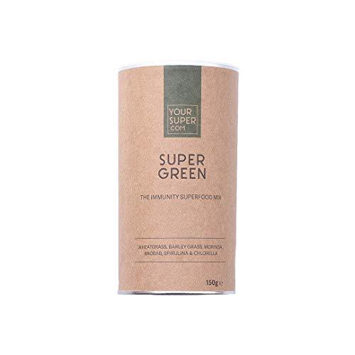 Super Green de Your Superfoods - poudre de superfoods vegan, poudre pour smoothie : herbe d'orge, baobab, spiruline, moringa, chlorelle, agropyre. 150g