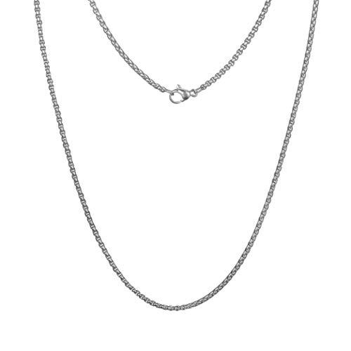 Meilanty Edelstahl Halskette Damen Ohne Anhänger 80cm Ankerketten Punk Containment Box Kette 3mm Breit Silber