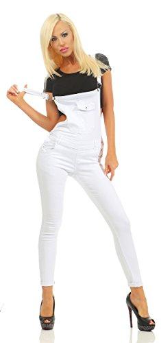 Fashion4Young 3993 Knackige Damen Latzhose Latzjeans Röhrenjeans Jeans Hosenträgern Overall (Weiss, L=40)