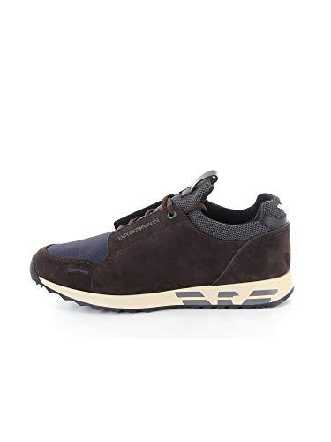 Emporio Armani - Zapatillas deportivas de piel de ante con inserciones de cordura y suela con logotipo Marrón Size: 44 EU