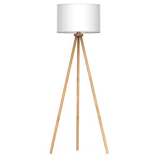 Tomons Lámpara de Pie LED Lámpara de Suelo Moderno Lámpara Vertical en Madera con Trípode Removible para sala de Estar, Dormitorio, Estudio