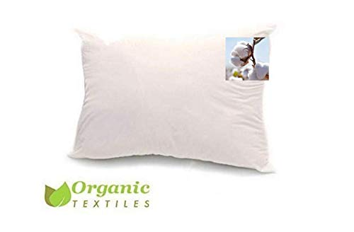 100% Organic Cotton Pillow, Medium Filled (Queen Size) with 100% Organic Cotton Cover Protector,...