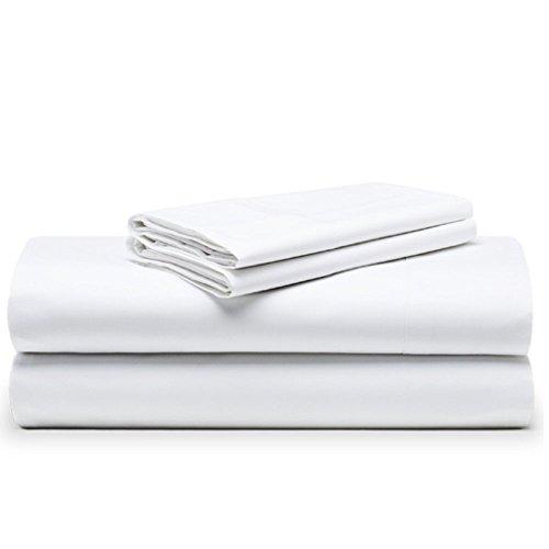 The White Basics - Cadaques - Juego de Sabanas Blancas Percal 200 Hilos 100% Algodon Peinado Cama Doble 150x200 cm.