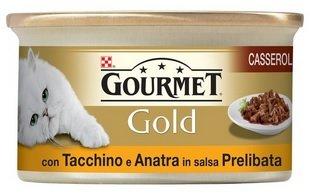 Gourmet Gold Casserole para el Gato, con Pato y Pavo en Salsa, 85g–Pack de 24Unidades