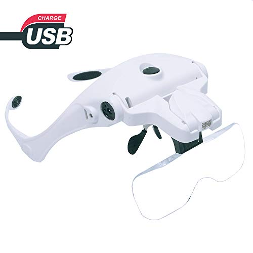 Headband Magnifier Glasses USB Charging, Hands Free Head Mount Magnifying Glasses with LED Light for Jewelry Craft Watch Repair Hobby 5 Replaceable Lenses 1.0X 1.5X 2.0X 2.5X 3.5X (Upgraded Version)