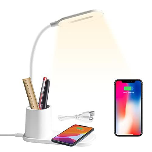 HyAdierTech Lampada da Scrivania LED con Portapenne, Lampada da Tavolo con wireless Caricabatterie Dimmerabil Rotazione a 360 °, 3 Modalità di Illuminazione, Ricaricabile USB a Risparmio Energetico