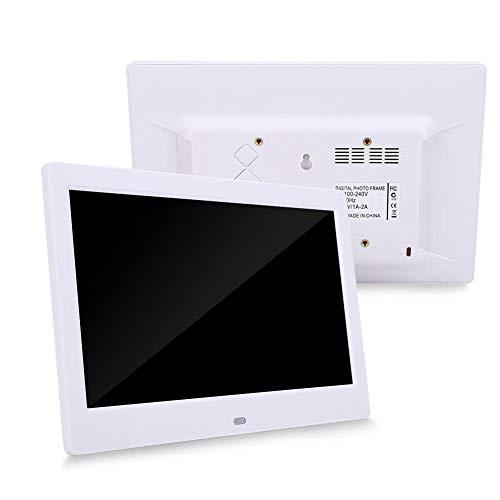 Cornice per foto digitale da 10 pollici, LED 1024 * 600 HD (16: 9) Cornice per album elettronica Sveglia MP3 MP4 Lettore di film musicali con telecomando per la decorazione della scrivania(bianca)