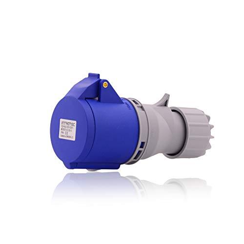 CEE sterk stroomstopcontact industriële stekker IP44 in blauw grijs 32A, 3-polig, 230V, CE, SB, RoHS, Reach