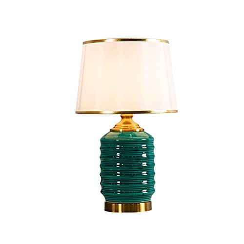 Braiton Lámpara De Mesa De Cerámica Hermosa Moderna De19.6, Lámpara De Mesa Retro Lámpara De Mesa De Noche LED para Sala De Estar,con Pantalla De Tela Blanca,Verde