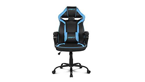 Drift DR50BL- Silla Gaming Profesional, polipiel, reposabrazos acolchados, piston clase 4, asiento basculante, altura regulable, cojín lumbar, color Negro/azul