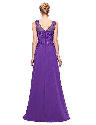 Unique Appliques Long Prom Gowns 2016 Purple Size 12