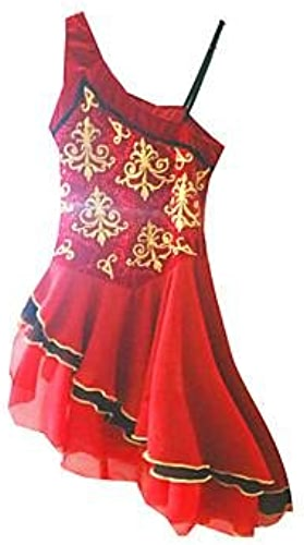 YAMEIJIA Robe de Patinage Artistique Femme Fille Patinage Robes Rouge Strass Vêtements de Plein Air Utilisation Tenue de Patinage Fait à la Main
