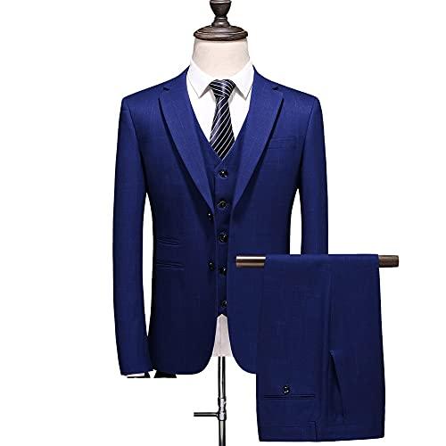 ZZABC Hombres Slim Button Traje Vestido de color puro Blazer Host Show Chaqueta Abrigo y pantalón Mens Formal (Color : Blue, Size : L 58-62kg)