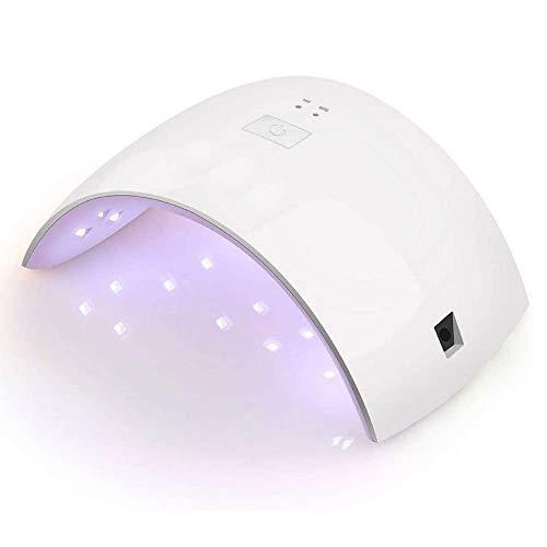 NK Lámpara LED - Secador de uñas Gel, acrílico, semipermanente, 36WLEDS, Gel UV Gel LED Compatible, Alivia la sensación de Ardor, Entrada AC100-240V, 18 Cuentas LED + Temporizador