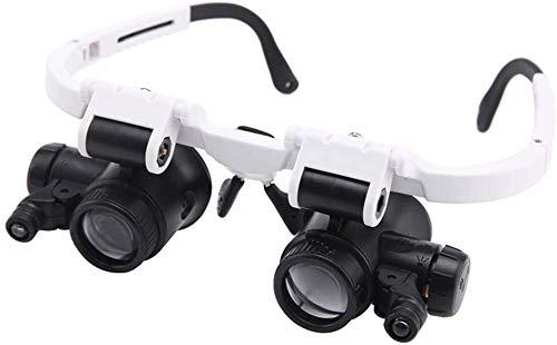 Lupa de artesanía creativa Lupa con luces LED, montado en la cabeza 8X + 23X, 2 de alta definición lente de la lupa iluminada de controles sobre el terreno, valoración de la joyería, la producción Pre