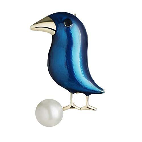 QXX Brosche Weibliches, europäisches und amerikanisches multifunktionales Design, handbemalte Emaille, Blaue Tierform, Mantelkleid-Set, Broschenschmuck, Seidenschal, Schalschnalle 4 × 2,5 cm