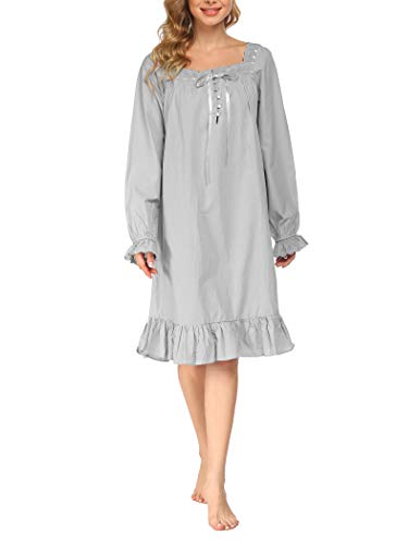 Avidlove Damen Kleid Nachthemd Schlafanzüge Nachtwäsche Negligees Langarm/Kurzarm Kurz Absatz/Lang Absatz Dessous Baumwolle Reine Farbe, B Langarm,grau Kurz, S