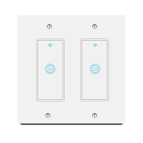 Smart Light Switch&Alexa Smart Double Switch& 2.4Ghz WiFi Light Switch with Timer and Remote Control,Schedule,Neutral Wire Needed,Works with Alexa, Google Assistant and IFTTT,Single Pole (2gang)…