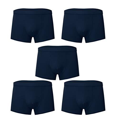 FENICAL 5pcs Cotton Man Underwear Boxer Briefs Stretchy Breathable Briefs Sexy Underwear Shorts Soft Underpants Size 3XL (Navy)