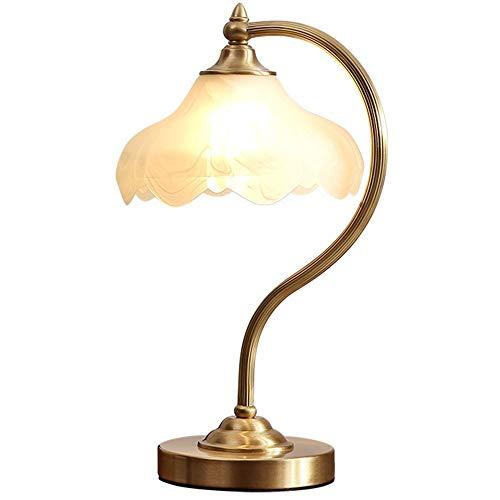 FAGavin Lámpara de mesa de latón de cristal creativo para dormitorio, sala de estar, estudio, mesita de noche