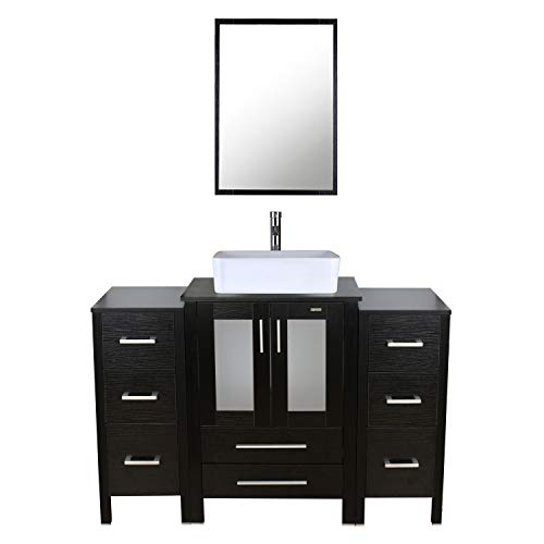 """eclife 48"""" Bathroom Vanity Sink Combo Black W/Side Cabinet Vanity White Ceramic Vessel Sink and Chrome Bathroom Solid Brass Faucet and Pop Up Drain, W/Mirror (2B11T03)"""