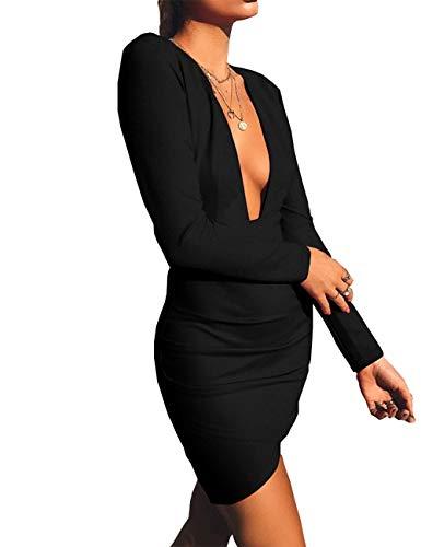 Haola Women's Deep V Neck Bodycon Dress Long Sleeve Backless Sexy Club Party Dresses M Black