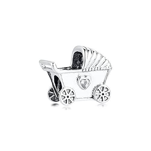 LIIHVYI Pandora Charms para Mujeres Cuentas Plata De Ley 925 Regalo Claro De La Joyería del Cochecito De Bebé Compatible con Pulseras Europeos Collars