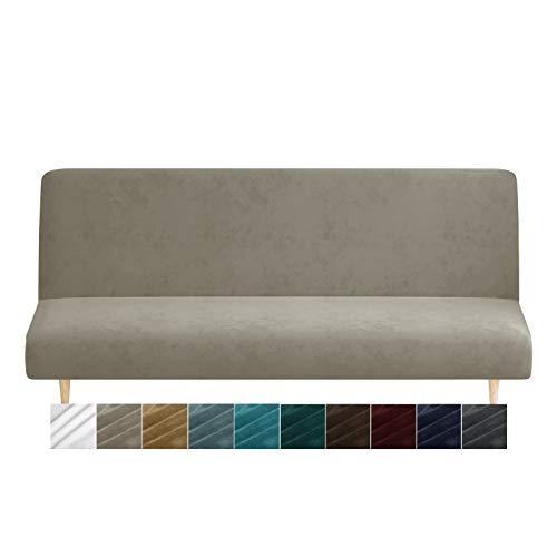 MAXIJIN Velvet Futon Cover Stretch Futon Slip Cover Full Size Futon Mattress Cover Armless Sofa Bed Plush Futon Couch Cover with Elastic Bottom (Futon, Khaki)