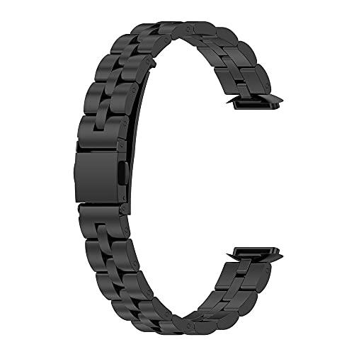 Tuofei Bandas de Reloj para Fitbit Luxe Acero Inoxidable con Tres Cuentas Metal Pulsera (Negro)