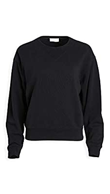 7 For All Mankind Women's Rib Insert Neck Sweatshirt, Jet Black, Large from 7 For All Mankind