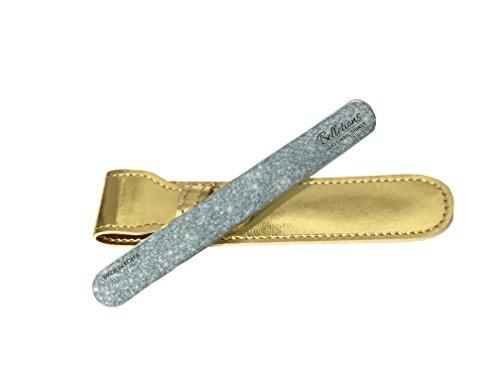 SHINAIL - Lima professionale per unghie, in vetro, effetto lucidante, con custodia protettiva