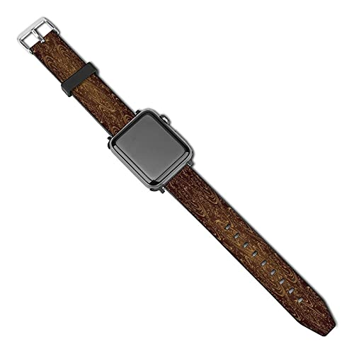 Floral Motifs Leather Strap With metal pin buckle,Adjustable,for Apple Watch