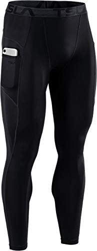 TSLA Men's Compression Pants, Cool Dry Athletic Workout Running Tights Leggings with Pocket/Non-Pocket, Athletic Pocket Black, Small