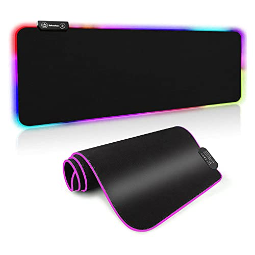 Eebeotow RGB Mouse Pad, XXL Mouse Pad with 14 RGB Lighting Modes, Large Mouse Pad for Desk,Waterproof and Non-Slip Rubber Base Gaming Mouse Pad, Size 31.5X12 in