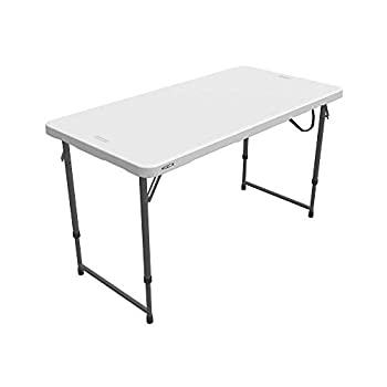 Lifetime Height Adjustable Craft Camping and Utility Folding Table 4 Foot 4 /48 x 24 White Granite