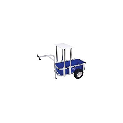 Sea Striker Deluxe Aluminum Fishing Surf Cart with Liner & Table – Pier Beach Wheel Wagon