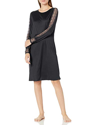 Hanro Damen Amanda Long Sleeve Gown Nachthemd, schwarz, Medium