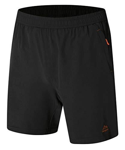 TBMPOY Men's Outdoor Sports Quick Dry Gym Running Shorts Zipper Pockets(Black,L)