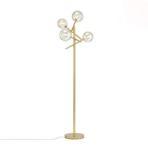 Dellemade - Lampada da terra moderna a 4 luci, in vetro, ottone