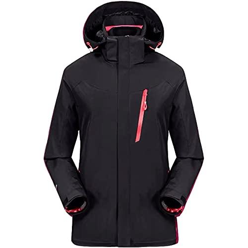 ZHAOJ Chaqueta De Esquí 3 En 1 Impermeable Chaqueta De Lluvia A Prueba De Viento Forro Abrigo De Invierno con Aislamiento Gabardina De Camuflaje Extraíble,Negro,XL