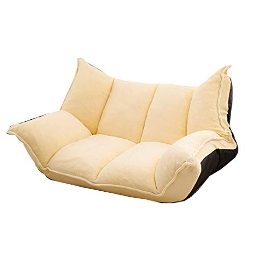 LiuliuBull Z Fabric Folding Chaise Lounge Sofa Chair Floor Couch Living Room Sofa Daybed Gaming Sofa (Color : Yellow Color)