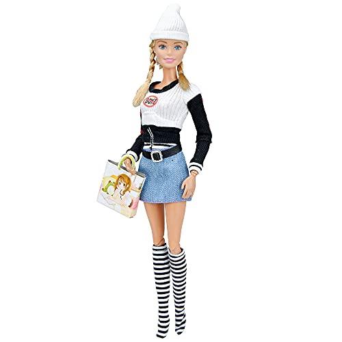 XKMY Vestidos para muñeca 1 juego hecho a mano ropa de muñeca ropa de moda traje diario casual vestido con bolsa sombrero muñeca accesorios para 1/6 ropa Barbie (color: No.4)